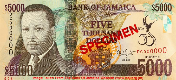 Jamaica $5000 Bill